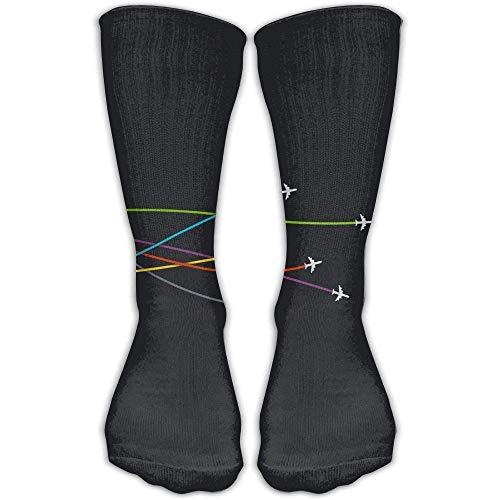 GHJL Unisex Fighter vliegtuig grappige hoge Athletic kousen lange sokken sport outdoor een maat 30 cm voor mannen vrouwen