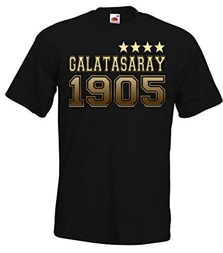 Herren T-Shirt Shirt Galatasaray Istanbul, 4. Stern, Schwarz, L