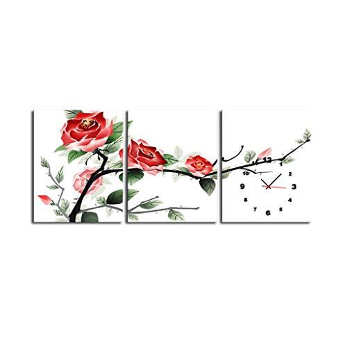 Leinwand Uhr Leinwand Wandkunst Dekorative Gemälde Kreative Seltsame Moderne Zeitgenössische Wanduhr Leinwand Einfache Wohnzimmer Restaurant Leinwand Material Wanduhr 3 Panel Kunsthandwerk Leinwand W