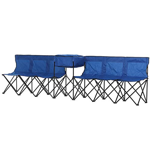 Outsunny Campingbank mit Tragetasche, 6-Sitzer Faltbank, Ersatzbank, Klappbank, Camping, Oxford, Blau, 306 x 48 x 82 cm