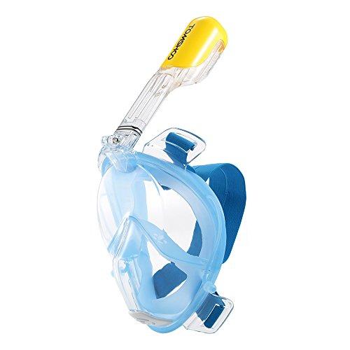 TOMSHOO Tauchmaske Easybreath 180?Vollgesichte Tauchmaske Schnorchelmaske für GoPro Kamera,Anti-Fog Anti-Leck Taucherbrille für Erwachsene, Damen und Herren