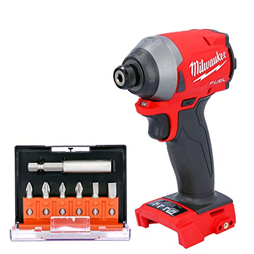 Milwaukee M18FID2 18V Fuel Impact Driver with 7 Pieces 25mm Long Screwdriver Bits Set