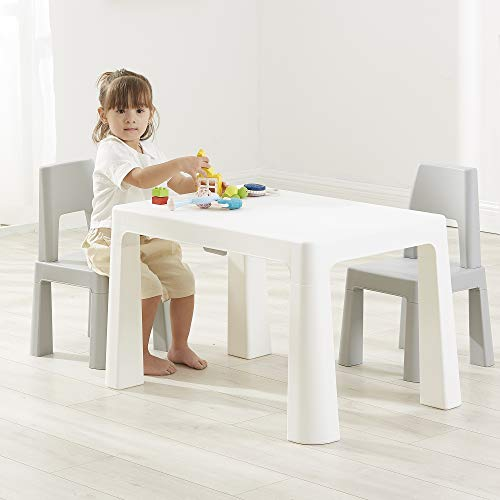 Liberty House Toys Kids White and Grey Height Adjustable Table and 2...