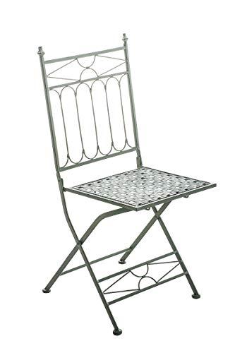 Chaise de Jardin Pliable ASINA - Chaise de Balcon en Fer Forgé avec Hauteur d'Assise 48 cm - Meuble de Terrasse et pour Usage Extérieur - Co, Couleurs:Antique-Vert