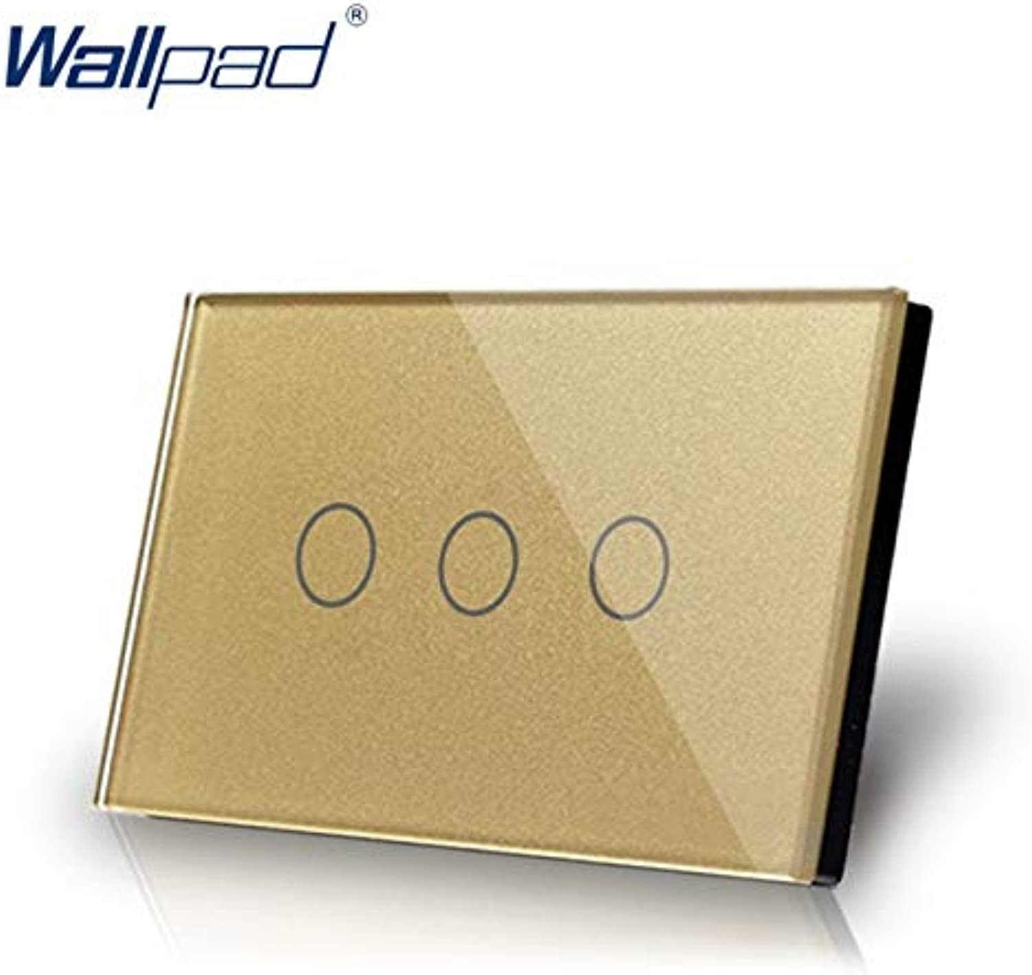 a7364a275dd1 3 Gang 1 Way US AU Standard Touch Switch Touch Screen Switch gold ...
