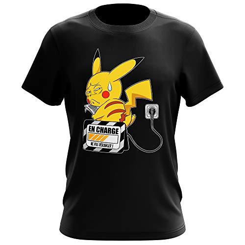 T-Shirt Manga - Parodie Pikachu de l'Animé Pokémon - En charge... (Super Deformed) - T-shirt Homme Noir - Haute Qualité (860) - XX-Large