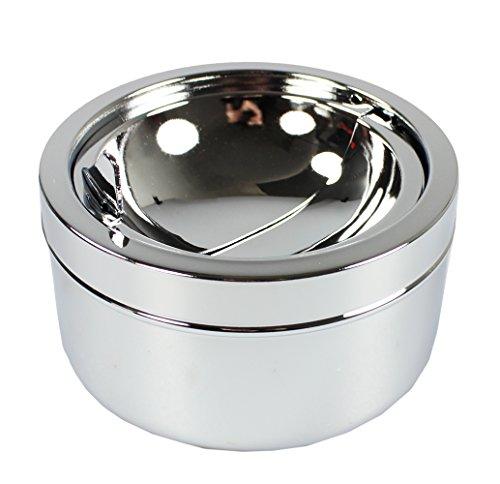 com-four® geschlossener Aschenbecher aus Metall für den Innen- und Außenbereich mit Falttürfunktion (Falttürfunktion Silber)
