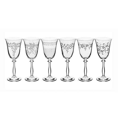 Bohemia Kristall Gläser - Royal - 6 er Set- mit verschieden Ornamenten (Weißweingläser 6 x 250 ml)
