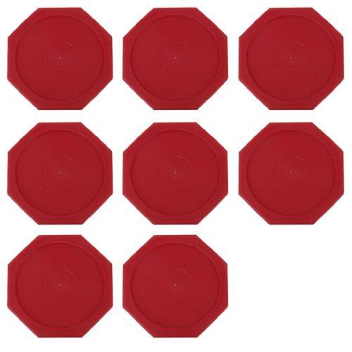 8 Stück Air Hockey Puck Tisch Arcade Game Pucks Achteckig 63mm (Rot)