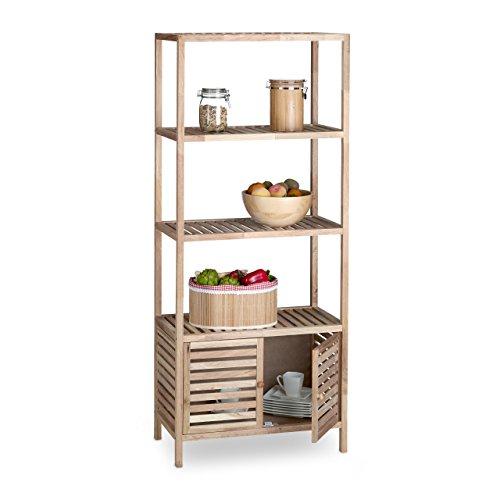 Relaxdays Badschrank Holz mit 5 Ablagen, breites Badregal, Walnuss Regal Bad u. Küche, HxBxT: 160 x 68 x 36 cm, Natur
