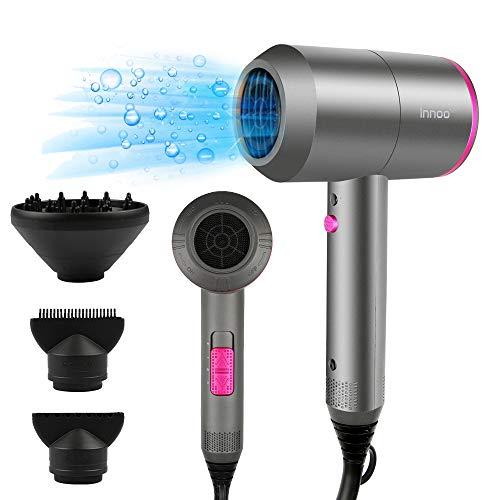 Innoo Tech Föhn Haartrockner 2000W AC-Motor schnell trocknend Ionen Haarföhn mit 3 Hitze-Einstellungen, Kaltlufttaste mit 1 Diffusor & 2 Konzentratoren für viele Frisuren
