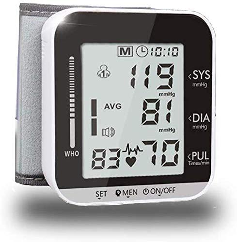Giow Handgelenk-Blutdruckmessgerät mit Sprachfunktion, großem LCD-Display, U-Handgelenk-Umfang (14 cm-19 cm), 2 * 99 Speicher