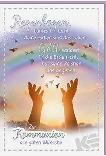 Kurt Eulzer Glückwunschkarte zur Kommunion Regenbogen, B6 + Umschlag