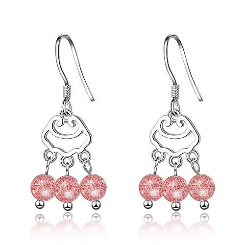 YFZCLYZAXET Pendientes Mujer Pendientes Colgantes De Plata Esterlina con Cristal Rosa, Regalo Sencillo Y Bonito para Mujer