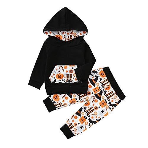 Kobay Kobay Infant Baby Jungen Mädchen Cartoon Kapuzen Tops + Hosen Halloween Kostüm Set(18-24M,Schwarz)