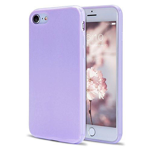 iPhone 8 Case, iPhone 7 Case, FGA Sugar Candy Cute Shockproof Protective Slim Fit Solid Color Soft Flexible TPU Gel Case Cover for iPhone 8(2017), iPhone 7(2016) 4.7 inch(Lavender)