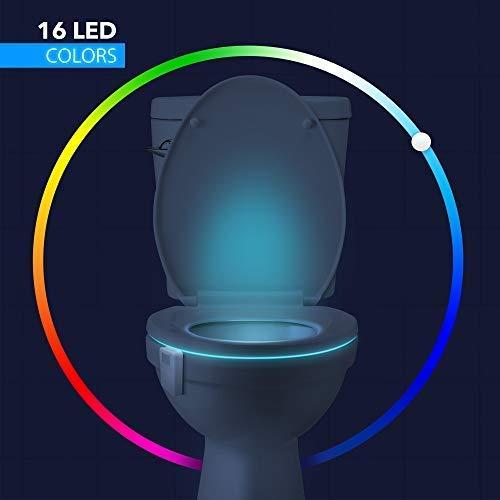 16-Color Toilet Night Light, Motion Activated Detection Bathroom Bowl Lights, Unique