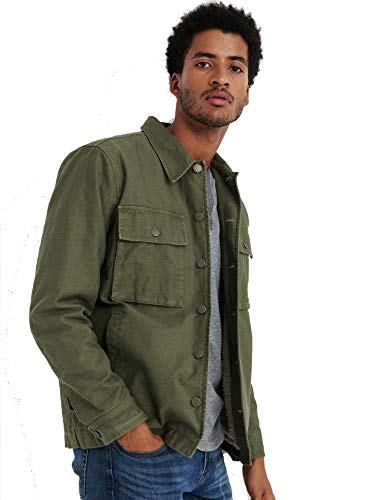 Lucky Brand Men's Sherpa Lined Field Jacket in Burnt Olive Green (XXL)