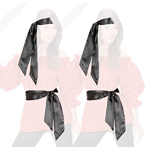 COM-FOUR® 2x satijnen haarbanden voor piratenkostuums - kan ook worden gebruikt als een riem in zwart - ideaal voor carnavals, themafeesten en kostuumevenementen (2 delen - haarband)