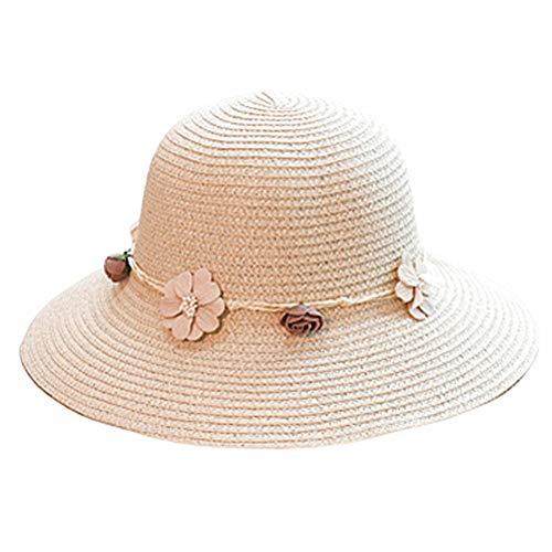 PLUS PO Sonnenhut Damen Stroh Damenhut Sommer Damenhüte Sommer Breitkrempiger Sonnenhut Damen Sommerhüte Für Frauen Damen Strohhut Damen-Strohhüte für Sommer beige,Freesize