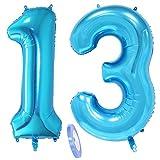 2 Globos Número 13, Número 13 Globo Blue Girl Boy Guys, Globo inflable de papel de helio de 40 Figuritas de globos azules, Globo gigante para decoración de fiesta de cumpleaños Prom (xxxl 100cm)