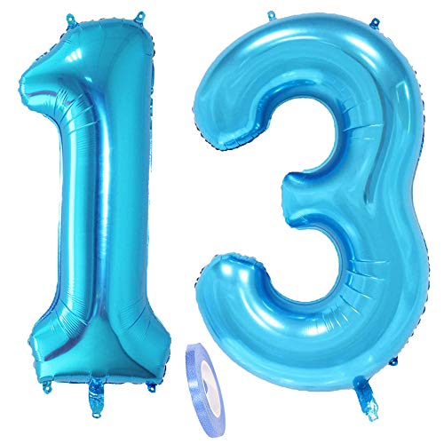 2 Luftballons Zahl 13, Nummer 13 Luftballon Blau Mädchen Junge Jungs,40