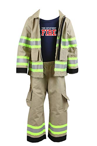 Personalized Firefighter Toddler 3pc Tan Outfit (4T)