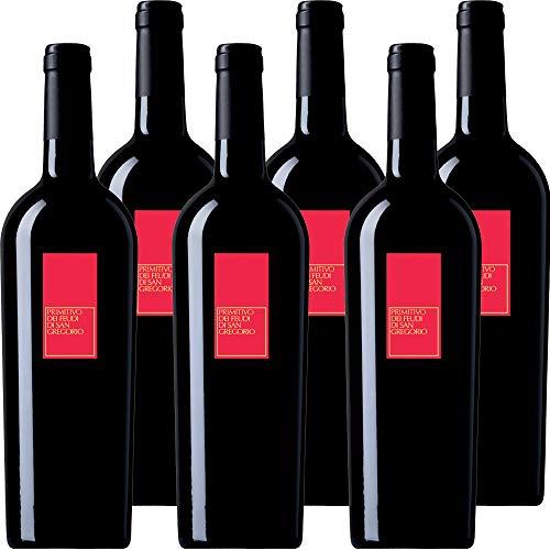 Primitivo Feudi di San Gregorio   Vino Rosso della Puglia   Confezione 6 Bottiglie da 75 Cl   Idea Regalo