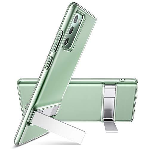ESR Funda Metal Kickstand para Samsung Note 20 /Note 20 5G 2020[Soporte Vertical y Horizontal] [Protección Reforzada contra Caídas] Funda para Samsung Galaxy Note 20 - Transparente