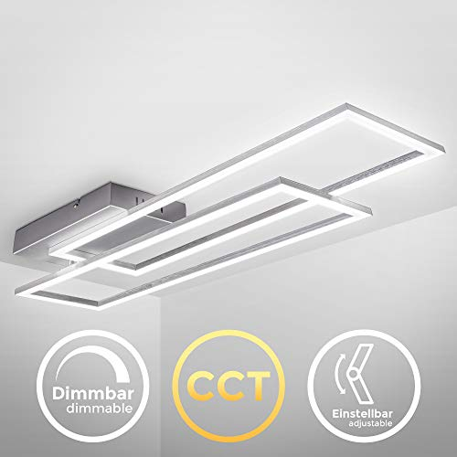 B.K.Licht, Plafoniera LED dimmerabile con telecomando, CCT luce calda, neutra, fredda, un rettangolo orientabile, LED integrati 40W 4400Lm, lampadario con timer e funzione luce notturna, 97.7x22x8cm