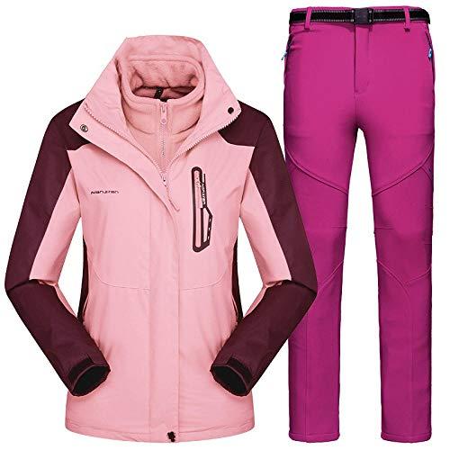 RXQCAOXIA heren dames 3-in-1 winter waterdichte jas & broek 2-delige set afneembare binnenwarmer fleece ski-jack winddichte mantel met rits met capuchon