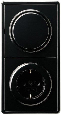 Complete set GIRA, 2-voudige combinatie, wisselschakelaar/stopcontact -zwart
