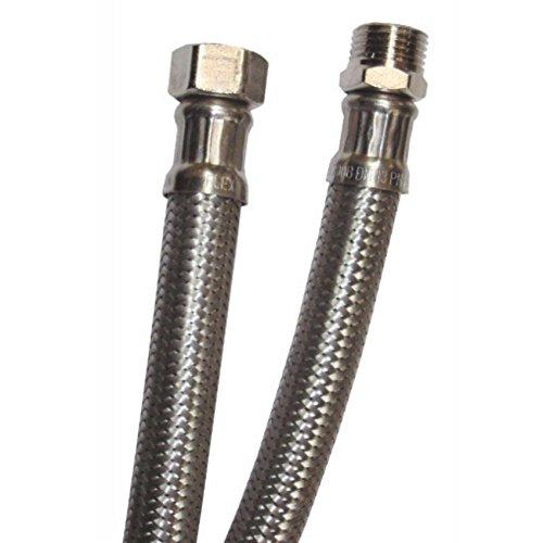 Flessibile acciaio inox tubo per acqua ricambio per miscelatore monocomando rubinetteria per bagno e cucina attacco 1/2' e 3/8' lunghezza 20-25 - 30-35 - 40-50 - 60-80 -100 cm (100 cm 1/2Mx1/2F)
