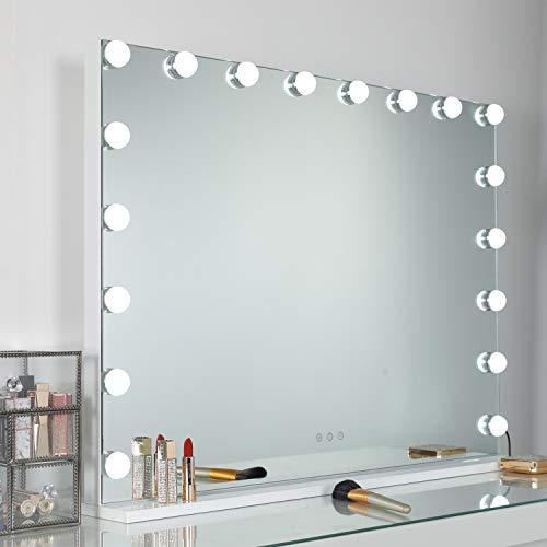 WAYKING Spiegel mit Beleuchtung, Make-up-Spiegel mit LED-Lichtern, 3 Beleuchtungsmodus, USB Aufladen Hafen & Touch-Steuerung, großer Kosmetikspiegel mit Dimmer-LED-Leuchten – Weiß(L80*H60CM)