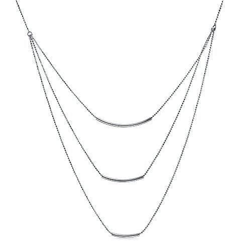 Layered Multi Three Strand Chain Curved Bar Necklace For Women 925 Sterling Silver
