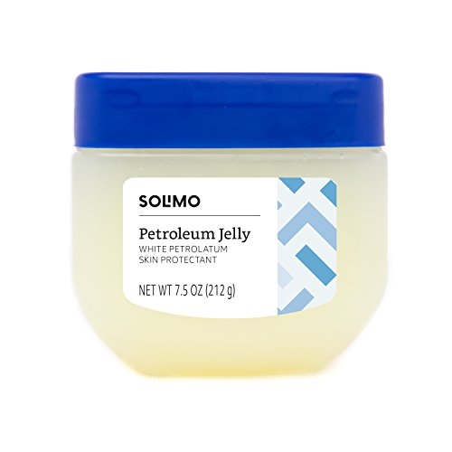 Amazon Brand - Solimo Petroleum Jelly White Petrolatum Skin Protectant, Unscented, 7.5 Ounce