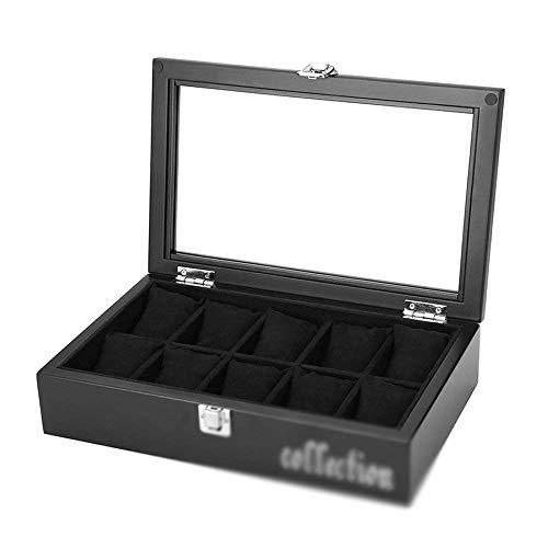 WZHZJ Caja organizadora for cajas de relojes Estuches de exhibición de 10 ranuras con tapa de vidrio enmarcado Contraste elegante Costura sólida y segura Cerradura for hombres y mujeres Reloj y joyerí
