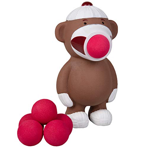 Hog Wild Sock Monkey Popper Toy - Shoot Foam Balls Up to 20 Feet - 6 Balls Included - Age 4+