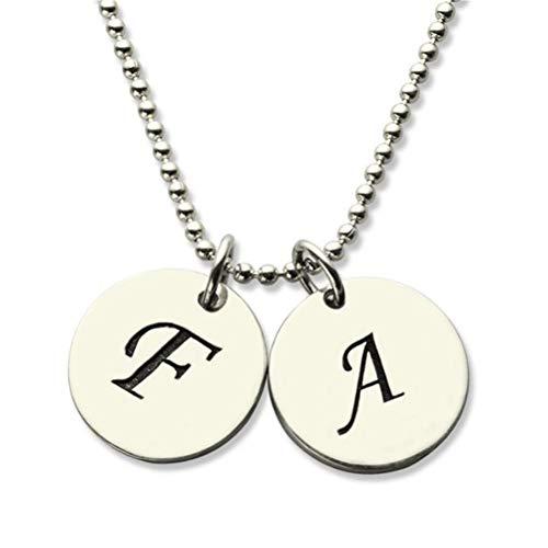 Collienght Passen Sie Ihre eigenen Zwei runden Halsketten an, um Ihre aus Zwei Buchstaben bestehende Abkürzung hinzuzufügen(Silver 14)