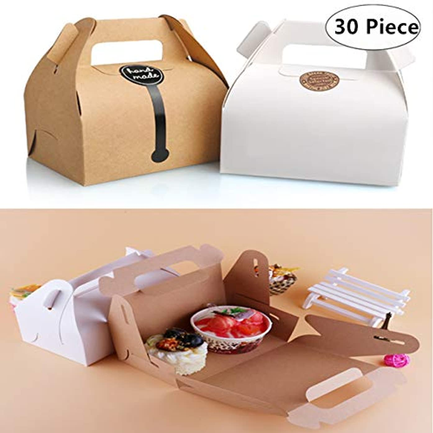 Carnatory 30pcs Party Favor Paper Treat Boxes with Handles, Cardboard Favor Boxes Treat Goody Bags Paper Gift Box Cookies Goodies Bakery Cupcake Boxes for Arts & Crafts, Picnic Snacks, Birthday Party