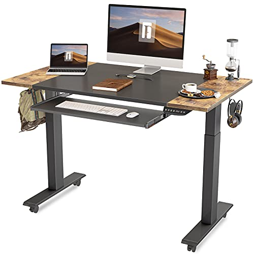 FEZIBO Dual Motor Height Adjustable Electric Standing Desk with Keyboard Tray, 48 x 24 Inch Sit Stand Table with Splice Board, Black Frame/Rustic Brown and Black Top