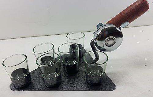 Schnapskelle mit Klingel + Gläser - Schnapsgläser - Maurerkelle Stammtisch