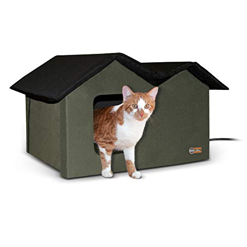 K&H Pet Products Outdoor Heated Kitty House Extra-Wide Olive 26.5 X 15.5 X 21.5 Inches