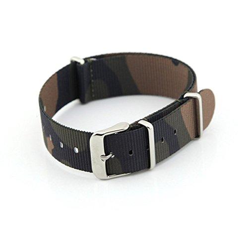 Owfeel (TM), cinturino di ricambio per orologio in nylon, colore mimetico, 20