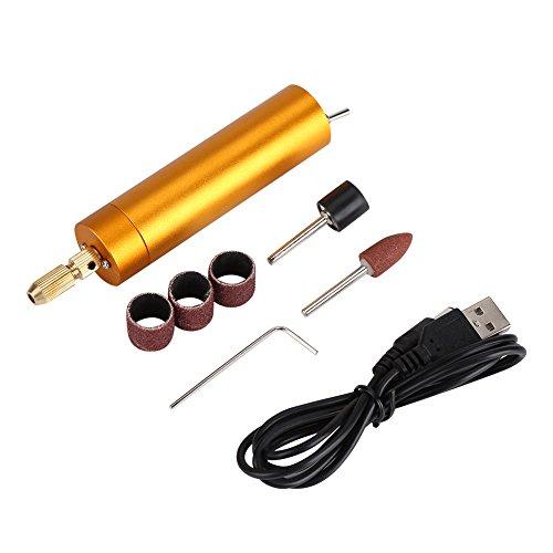 Sanon - Mini trapano elettrico, ricaricabile tramite USB, per smerigliatura fai da te, set di utensili per incisione (oro), oro