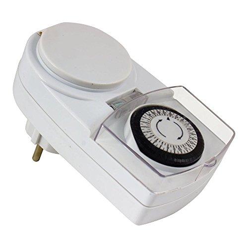 Heitronic Zeitschaltuhr IP44, für Lichterketten geeignet, 24 Std Tagesprogramm, kürzeste Schaltzeit 30min