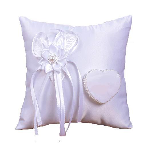 Merssavo Quadrato Bianco Giorno delle Nozze Anello Cuscino Cuscino Bianco Rosa Fiori Cuore Design ERT