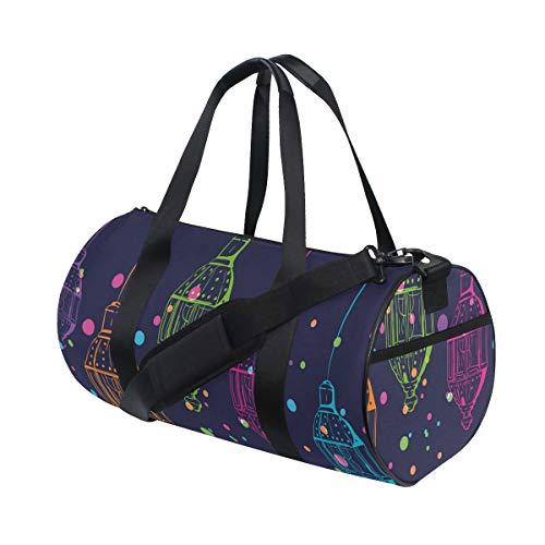 HARXISE Bolsa de Viaje,Velas de Linterna en la Noche Posters,Bolsa de Deporte con Compartimento para Sports Gym Bag