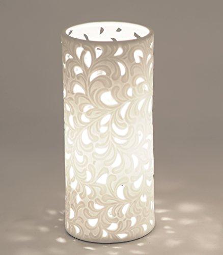 Formano Porzellan-Lampe Rund Harmonie Romantik Tischleuchte Nachttischlampe Nachttischleuchte Stimmungslampe Weiss 10x23cm