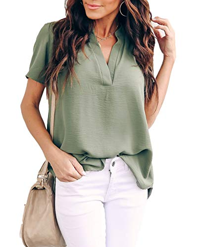 Allimy Women Summer Short Sleeve Shirt Juniors Tunic Tops for Leggings Chiffon Blouses Army Medium